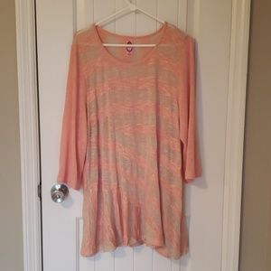 Tops - Pink and tan lightweight sweater XL